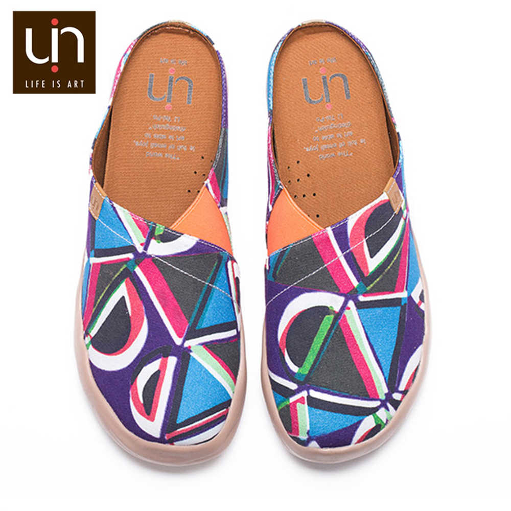UIN Protuberância Cor Design Mulheres Casual Conforto Chinelos Slip-on Sapatos de Lona Cores Misturadas Sandálias Das Senhoras Super Leve