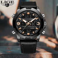 LIGE New Men's Fashion Sport Watch Men Black Leather Waterproof Quartz Watches Male Date LED Analog Clock Relogio Masculino 2020