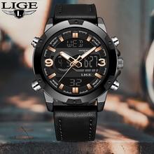 LIGE New Men's Fashion Sport Watch Men Black Leather Waterproof Quartz Watches Male Date LED Analog Clock Relogio Masculino 2019 цена