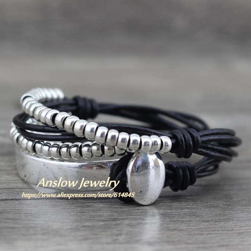 Anslow marca boêmio vintage artesanal multicamadas wrap jóias feminino dia das mães aniversário pulseira de couro low0465lb