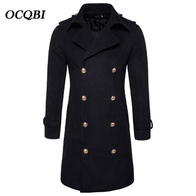 Plus Size 2018 Double Breasted Slim Smart Casual Mens Coats Overcoats Fashion Winter Dress Coat Mens
