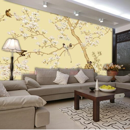 Chinese flowers and birds simple living room bedroom tv for Chinese mural wallpaper