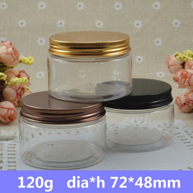 Free Shipping 50pcs/lot 120g Clear PET Storage Jar Transparent Airtight Plastic Food Container Bronze,Black,Gold Aluminum Cap