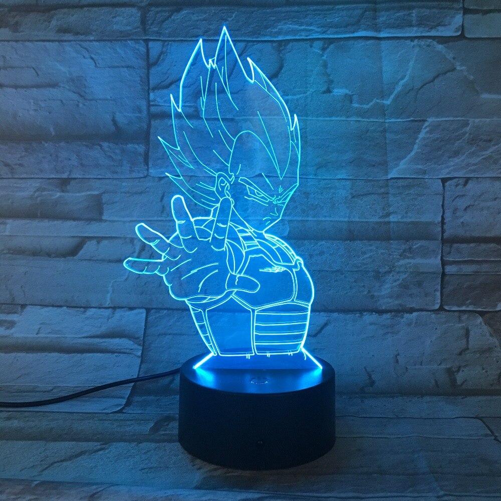 Dragon Ball 7 cambio de Color 3D colorida luz nocturna estereoscópica ilusión Visual Lámpara USB 3AA batería LED lámpara Decoración Luz GX-813