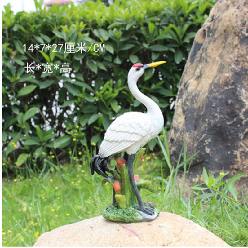 Artificial-Garden-Ornaments Crane Resin Toy Red-Crowned Animal Lovers 1PCS Crafts Sculpture