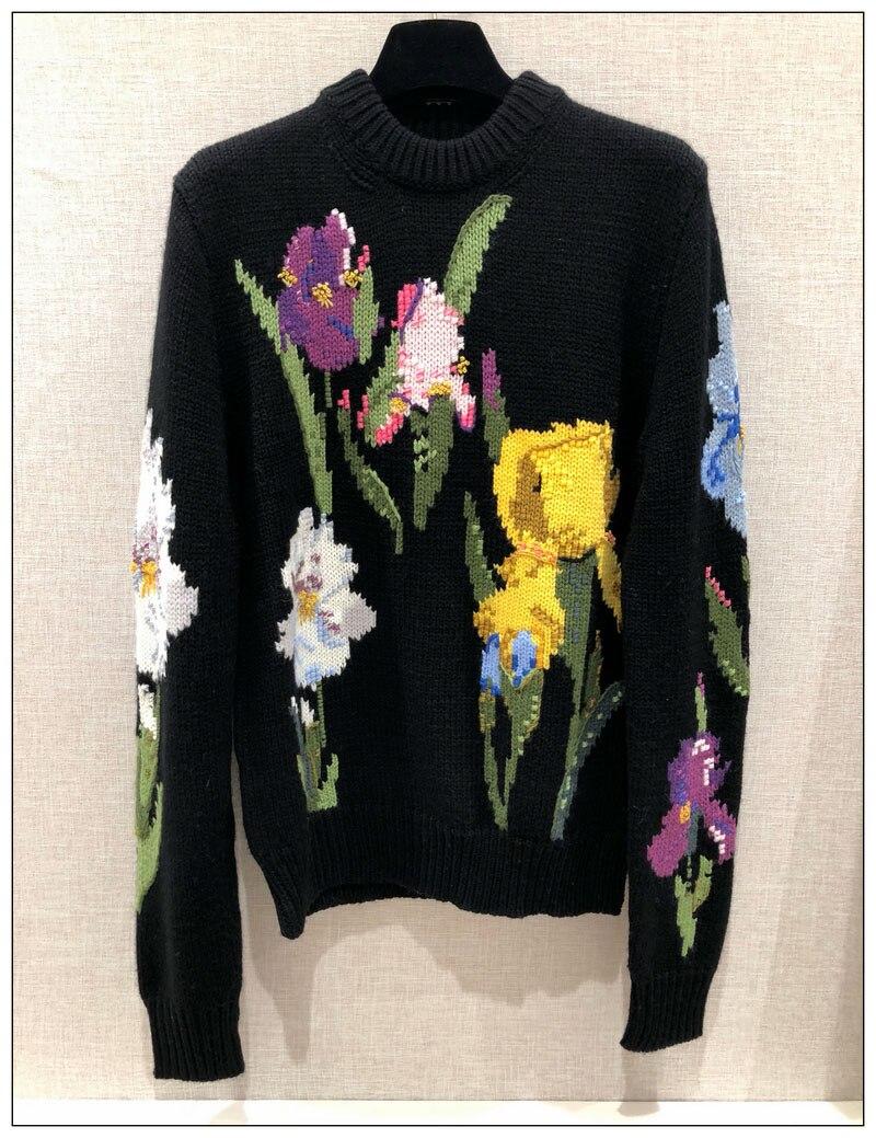 WISHBOP черный красочный тюльпан цветочный Интарсия шерстяной свитер круглый средства ухода за кожей шеи с длинными рукавами Ребристый Подол