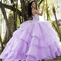 Purple Organza Ball Gown Quinceanera Dresses 2019 Fluffy Dress Sweetheart Off Shoulder Beading Long Ball Prom Dress Sweet 15 16