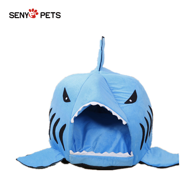 Soft Dog Cat Bed Cartoon Shark Mouse Shape Washable Dog House Pet Sleeping Bed With Removable Cushion Db110