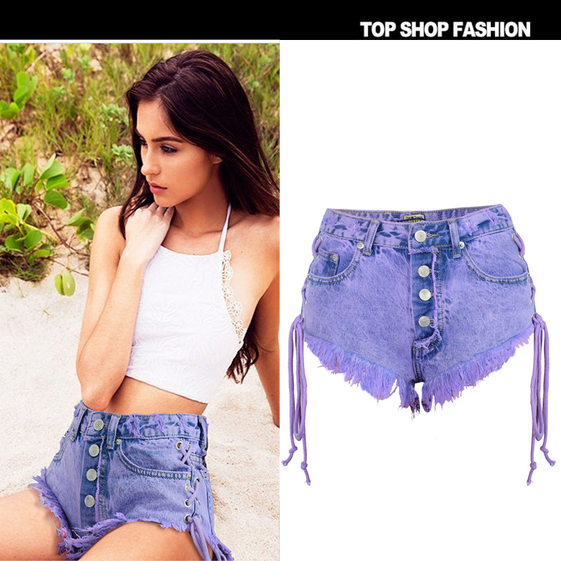 Summer Purple Hot 2018 Casual Female High Waist   Shorts   For Women Denim Jeans Flim Fitness Mini Bodycon Sexy Lace Up Cool
