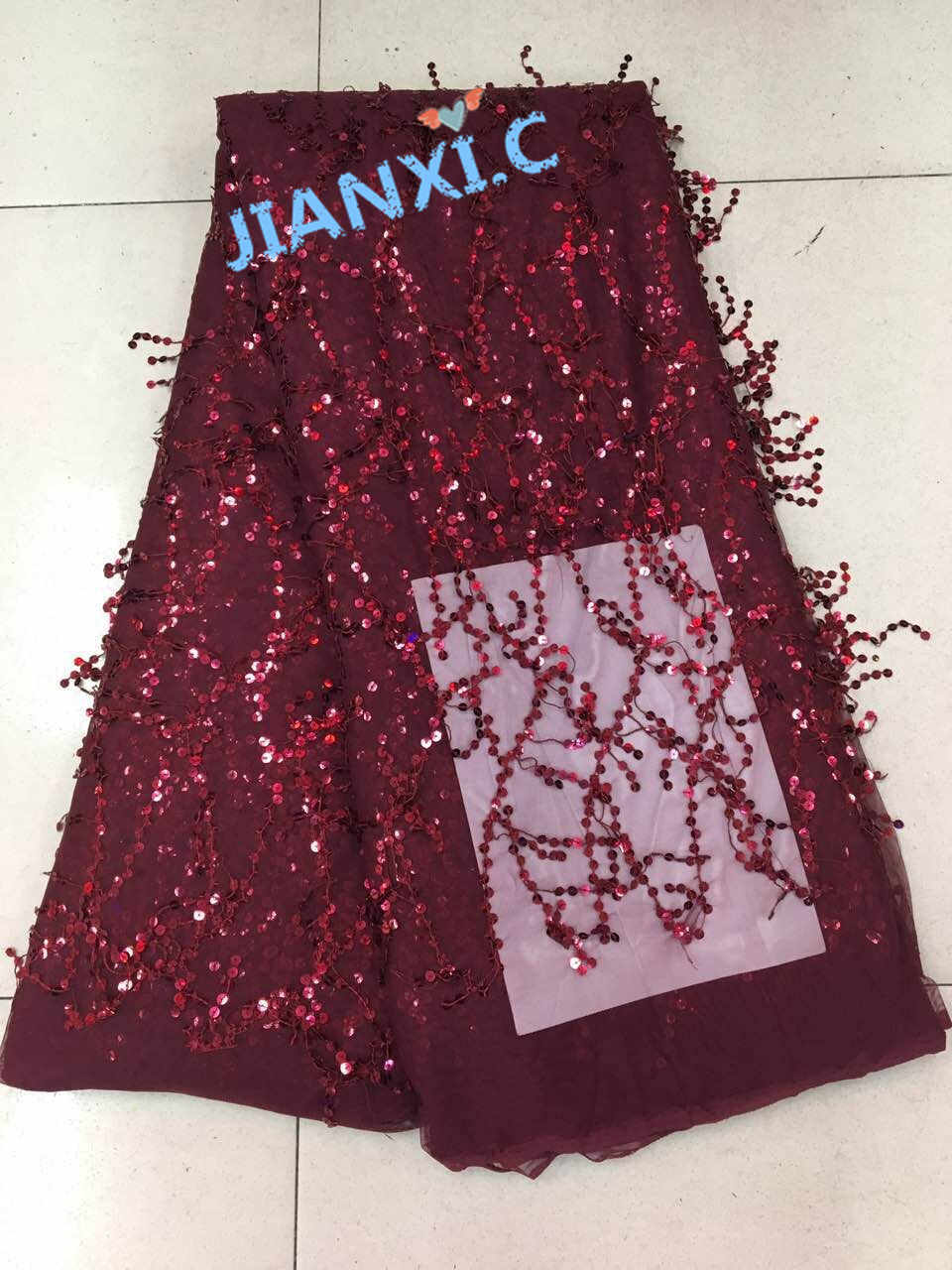 French African net lace fabric with sequins David 62427 for party dress