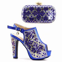 Latest Royal blue Women Shoes and Bag Set In Italy African Shoes and Matching Bags Italian High Quality African Wedding Shoes