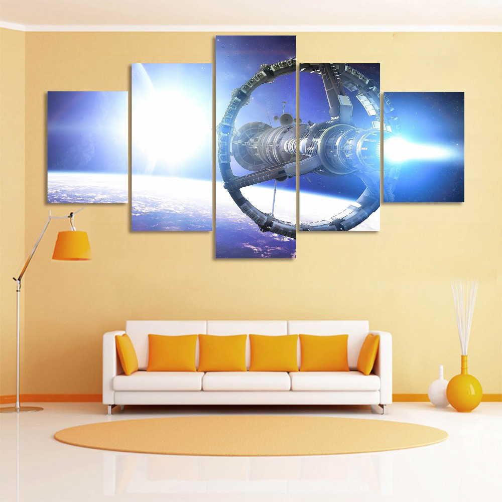 Modern Wall Art Canvas Prints Landscape Canvas 5 Panel Space ...