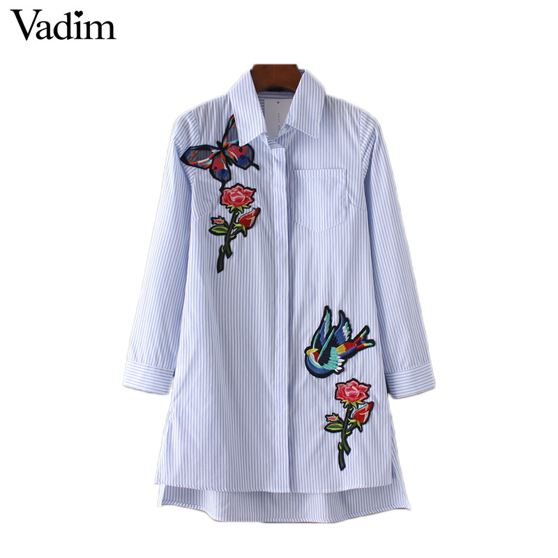 Women flower butterfly bird embroidery striped long shirts