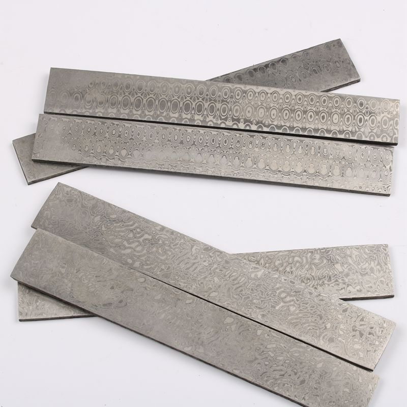 Real Damascus Billet Steel Blanks HRC58 Knife Steel DIY Blanks Knife Making Material Stainless Steel