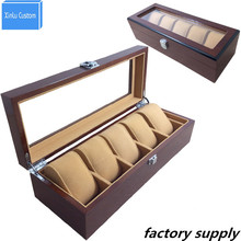 Solid Wood Watch Case Organizer with Mens 5 Slots Acrylic Clear Window Display&Storage Top Fashion Jewelry Watches Box WBG1003