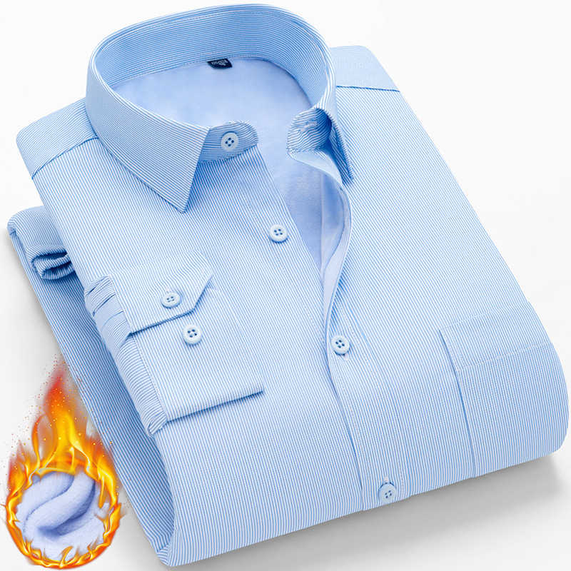 冬暖かい長袖カミーサ Masculina 韓国スリムなデザインフォーマルカジュアル男性ストライプドレスシャツプラスサイズ