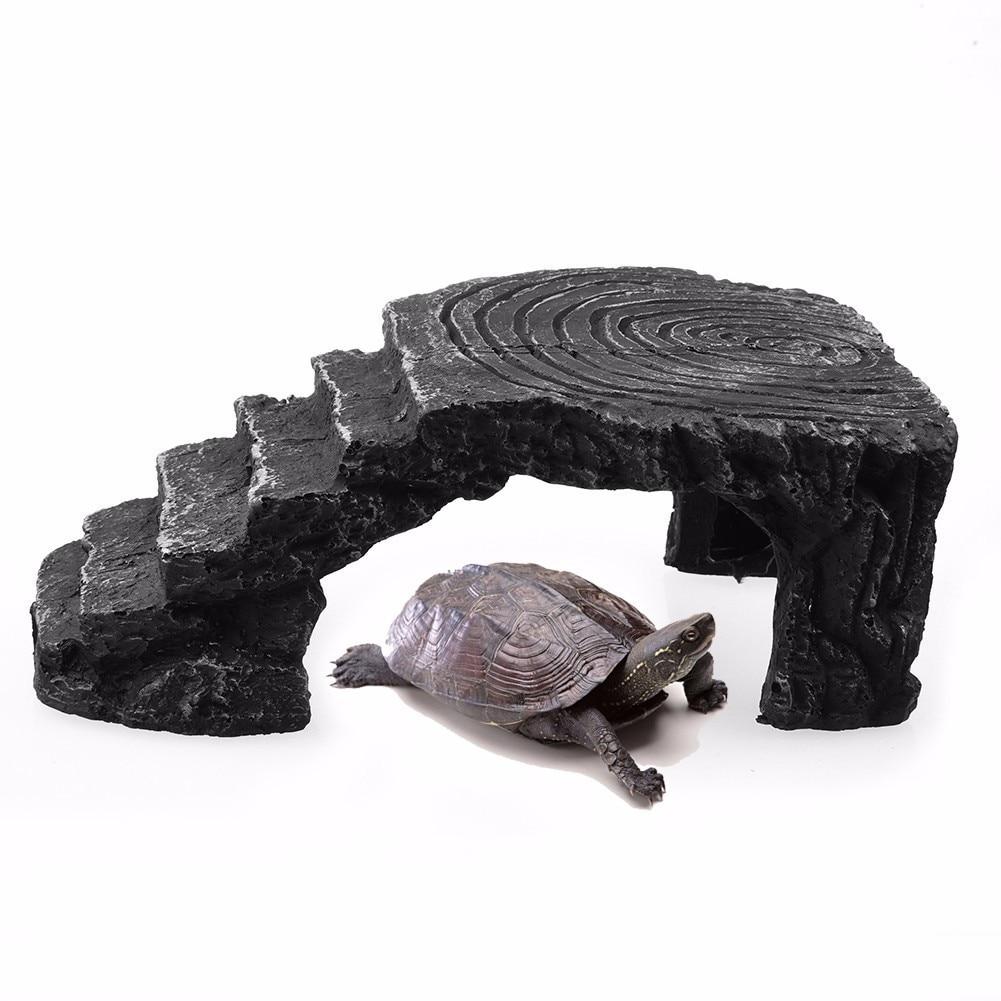 Turtle Tortoise Basking Platform Corner Ramp Reptile Hiding Cave Terrace