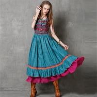 Vestito da estate delle Donne Boho Hippie Vintage maglia di stile nazionale foglia di loto vestito da Dancing ondeggianti di Lunghi Abiti maxi dress plus formato