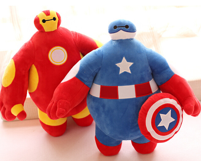 Candice guo plush toy stuffed doll Baymax become Captain America iron man batman superman cute children birthday christmas gift dc marvel brickheadz cute doll superman batman iron man captain america hulk legoinglys model building block set kids brick toy