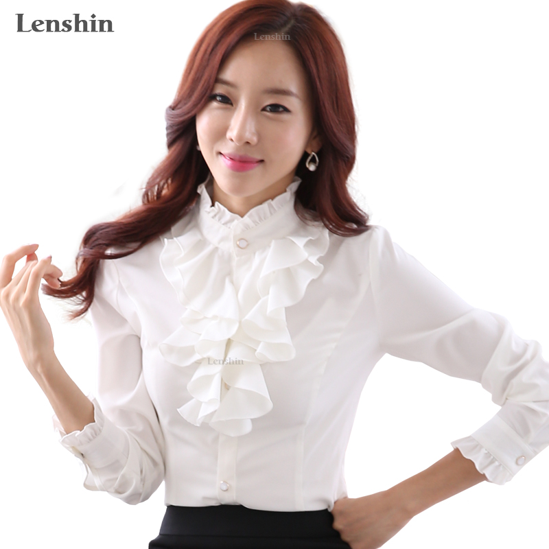 Lenshin Hvit Bluse Mote Kvinnelig Full Sleeve Casual Shirt Elegant Ruffled Collar Office Lady Tops Women Wear