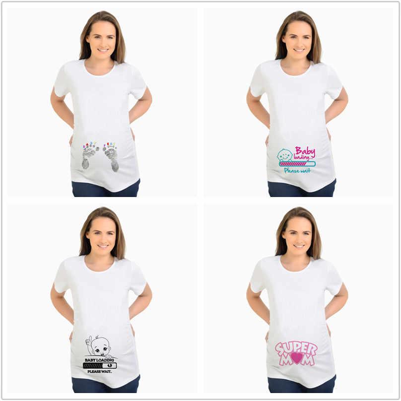 d268daa5 Maternity T-Shirt Summer T shirts Designer Funny Tops Pregnant BABY Loading  Women Letter Print