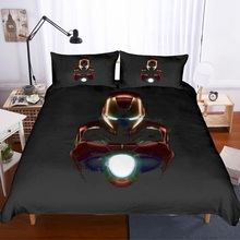 Black/Gold Duvet Cover Set 3 PCS Avengers Alliance Bedding Set with 2 Pillowcase Iron Man Boys Home Bed Linen Set AU/EU/US Size