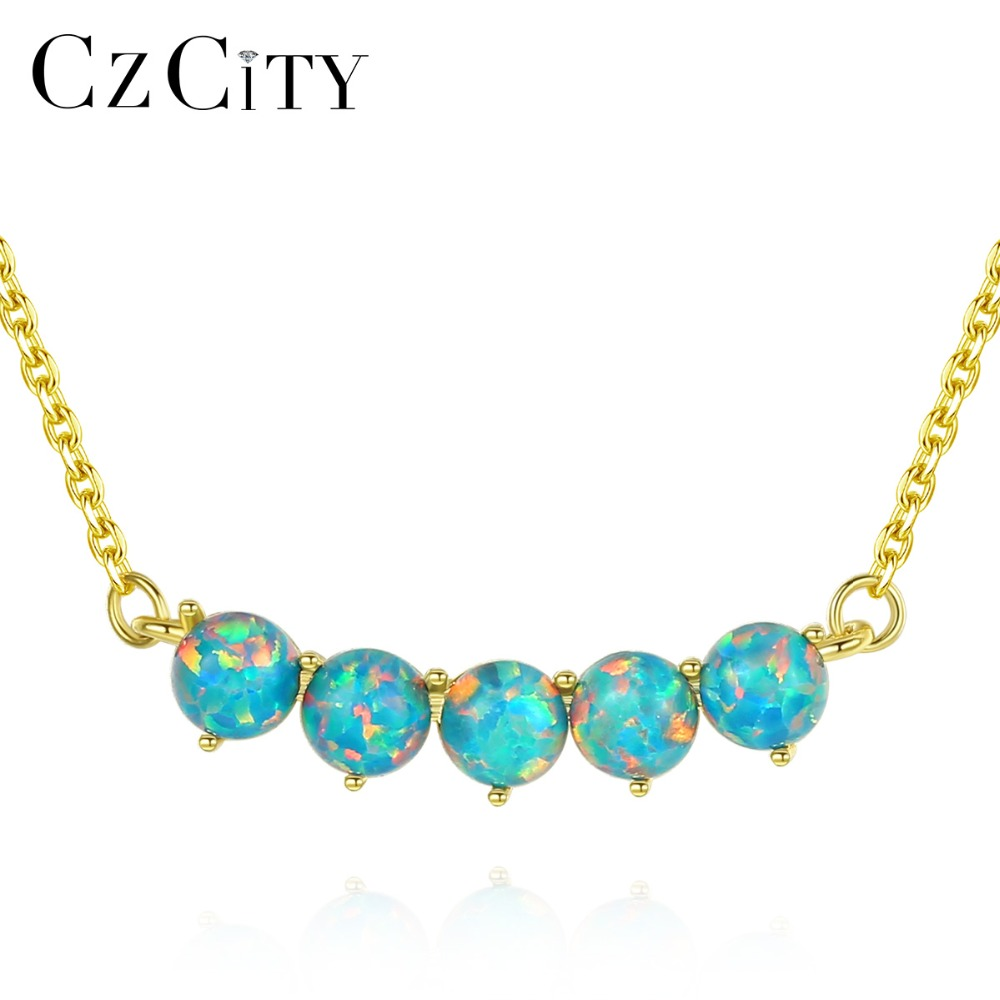 CZCITY New Design 925 Sterling Silver 18K Gold Plated Round Pendant Necklace for Women Wedding Elegant Kolye Three Color Jewelry