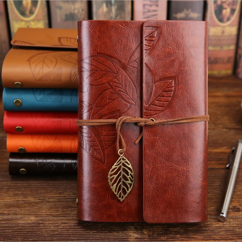 Vintage Travelers Notebook Diary Notepad PU Leather Spiral Literature Note Book Paper Replaceable Journal Planners Stationery
