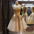 New A line Sleeveless Gold Lace Appliques Custom Short Graduation Dresses Bridesmaid Dresses Cocktail Dresses Homecoming Dress