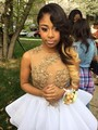 Cute Gold And White Sexy Sheer Appliques Graduation Homecoming Dresses 2016 Sleeveless 8th Grade Prom dresses Sexy Mini Gown H10