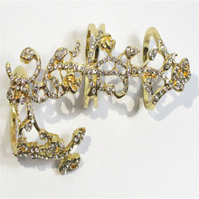 Womens Chic Alloy & Rhinestone Shiny Crystal 2 Finger Ring