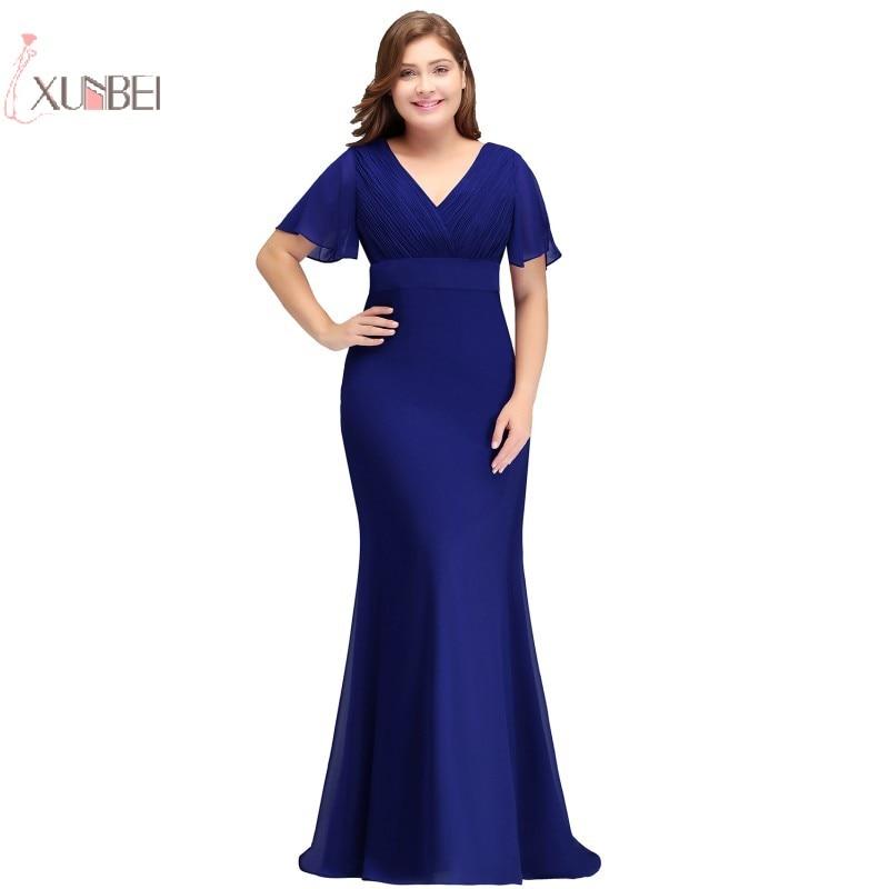Robe de soirée longue grande taille 2019 sirène en mousseline de soie col en V robe de soirée robe de soirée