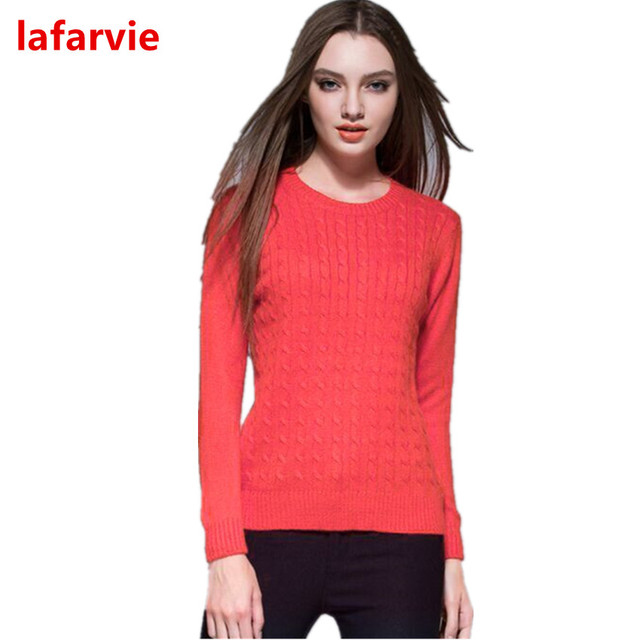 Lafarvie Fashion Autumn Winter Cashmere Blend V-Neck Pullover Full Sleeve Sweater Women Knitted Pull Femme Jumper 13Colors S-XXL