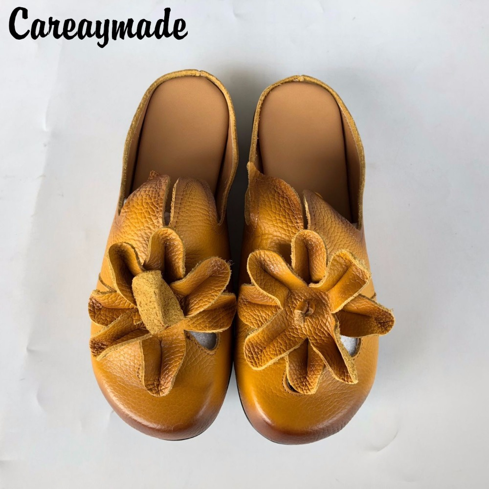 Careaymade-New 2018 Spring/Summer,Women ethnic style genuine leather slippers,Low-heel flat flower soft sole slippers,2 colors