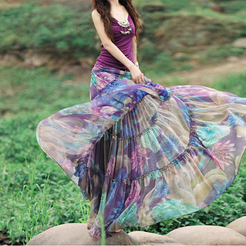 Pengiriman gratis 2019 Boshow busana rok sifon panjang, Bunga dicetak Maxi Boho rok untuk wanita, Plus ukuran rok Bohemian XS-XL