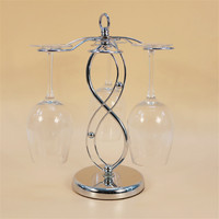 Silver Metal Wine Cup Holder Stand Saving Space Wine Glass Rack Hanging Drinking Glasses Stemware Kitchen