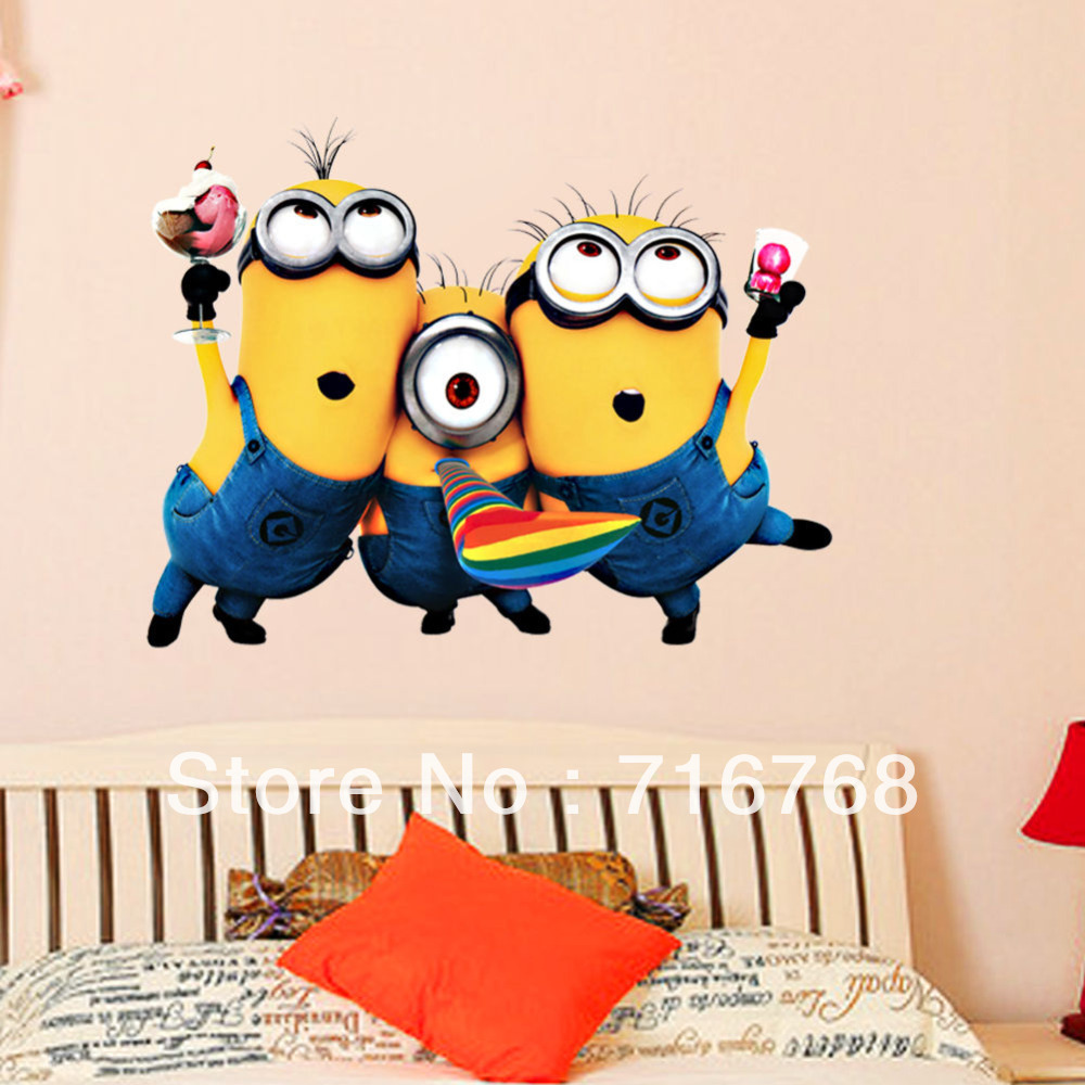Full color despicable me 5 wall sticker decal mural minion bedroom full color despicable me 5 wall sticker decal mural minion bedroom top me tm1406 in wall stickers from home garden on aliexpress alibaba group amipublicfo Images