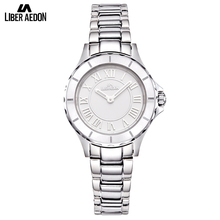 Liber Aedon Fashion Stainless Steel Women Watch Silver Top Brand Dress Wrist Watch Casual Quartz Ladies Watches Relogio Feminino