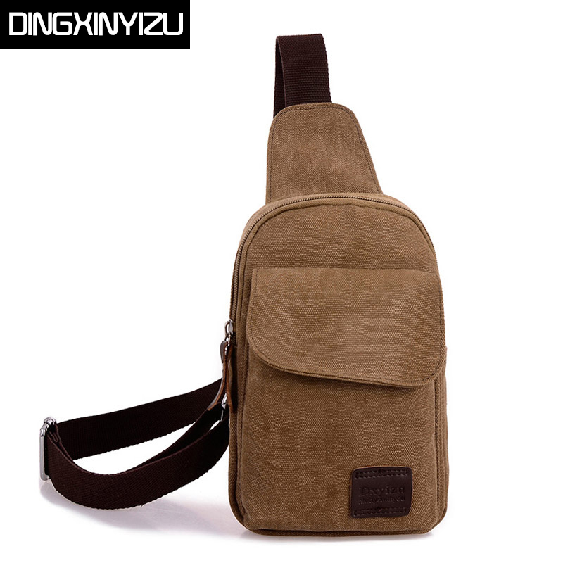 DINGXINYIZU Casual men's chest pack Retro canvas bags multifunctional small male messenger bags Fashion shoulder crossbody bags цены онлайн
