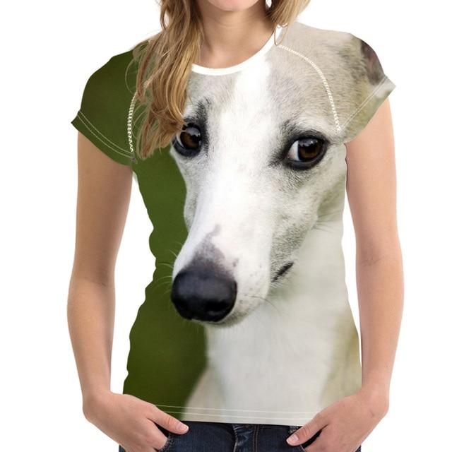 מצחיק עיצוב אישה קיץ T חולצות חמוד ויפט כלב הדפסת בנות חולצות Harajuku קוריאני סגנון קצר טי בגדים