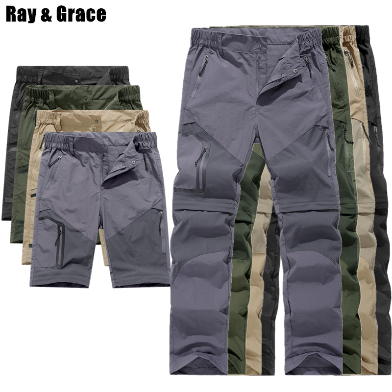 RAY GRACE Men's Summer Outdoor Pants Waterproof Removable Quick Dry Shorts Pockets Cargo Pants Men Trekking Fishing Hiking Male