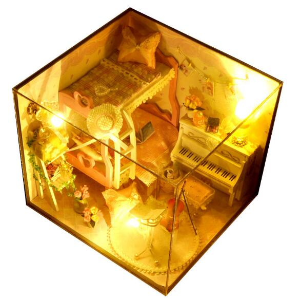 Ручной Работы Деревянный Diy Девушки Спальня Кукольный дом Мебель Миниатюрные подарка корабля Diy кукла миниатюрный кукольный домик светодио...
