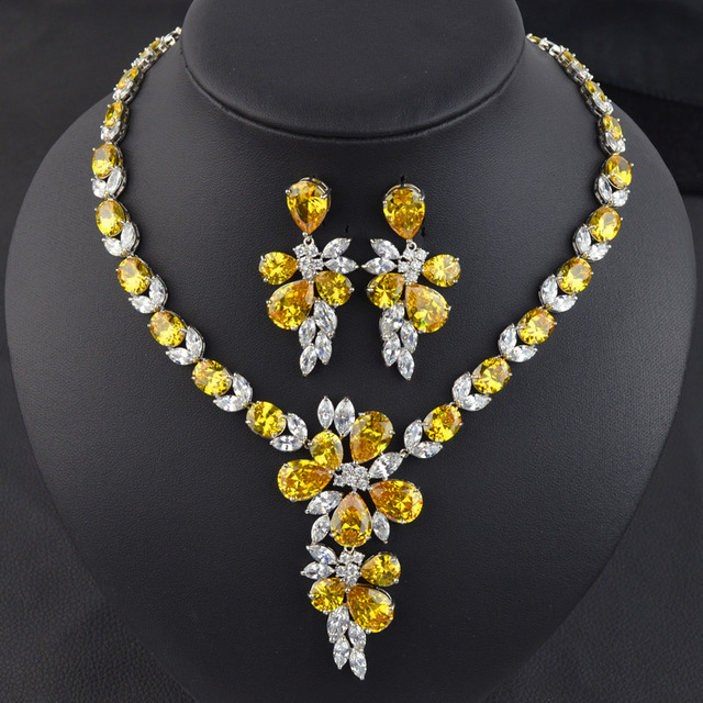 5 colors option high quality yellow golden AAA Cubic Zirconia necklace earring for bride,luxury fashion bridal jewelry set