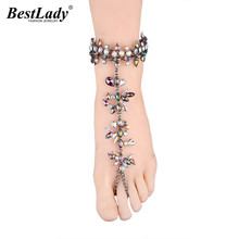 Best lady Fashion Jewelry Hot Brand Multi Color Bohemian Crystal Anklets Bracelets Sexy Women Summer Charm Wedding Anklets 5272