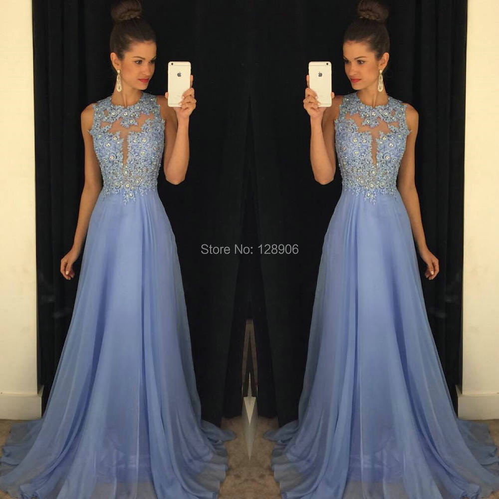 Pretty Lilac Prom Dresses Beaded Appliques Lace Prom Gowns 2016 Open ...