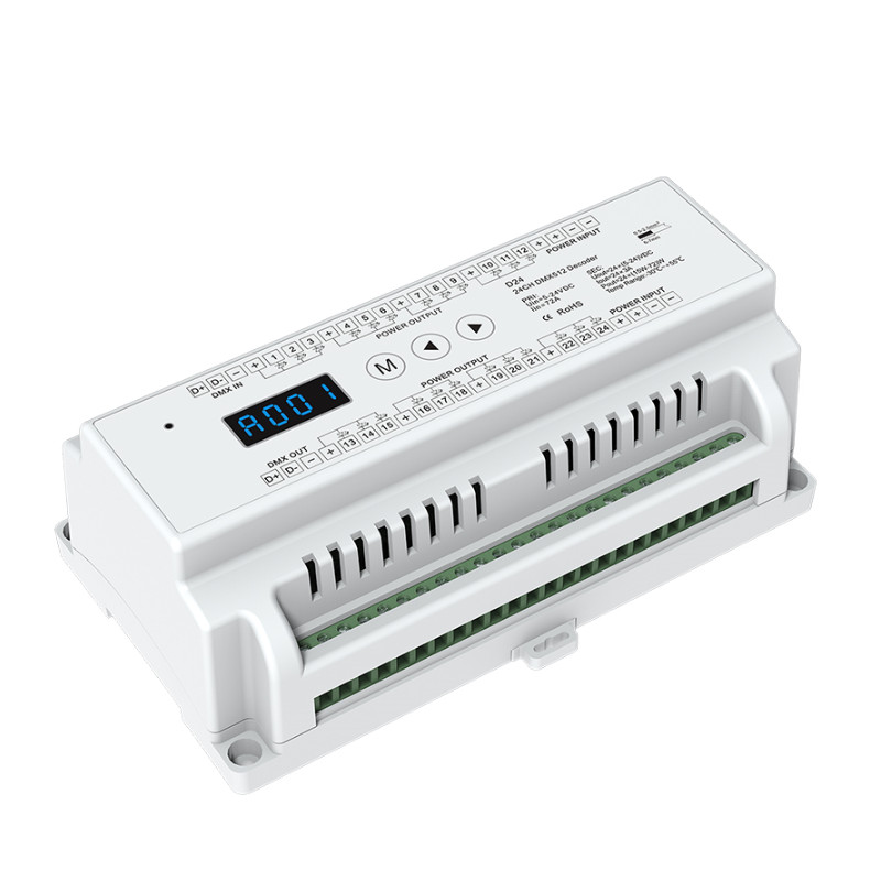New D24 CV Led DMX512 Decoder Constant Voltage;DC5-24V input;3A*24CH output Din Rail 24 Channel DMX Decoder RGB strip Decoder fast shipping 3pcs 24ch dmx512 controller decoder ws24luled 24 channel 8groups rgb output dc5v 24v for led strip light module