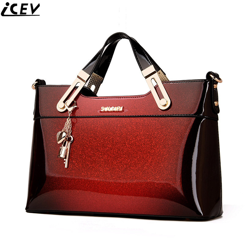2018 designer handbag high quality patent leather female tote bags handbag women famous brands messenger bag ladies work clutch high quality authentic famous polo golf double clothing bag men travel golf shoes bag custom handbag large capacity45 26 34 cm