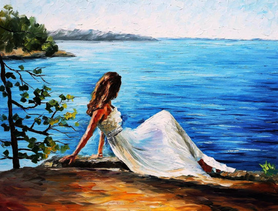 Hand Painted Landscape High Quality Abstract Palette font b Knife b font White Angel Oil Painting
