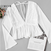 COLROVIE Lace Tied Peplum Blouse Women Plunging V Neck Boho Summer Tops Elegant Fall 2017 Fashion