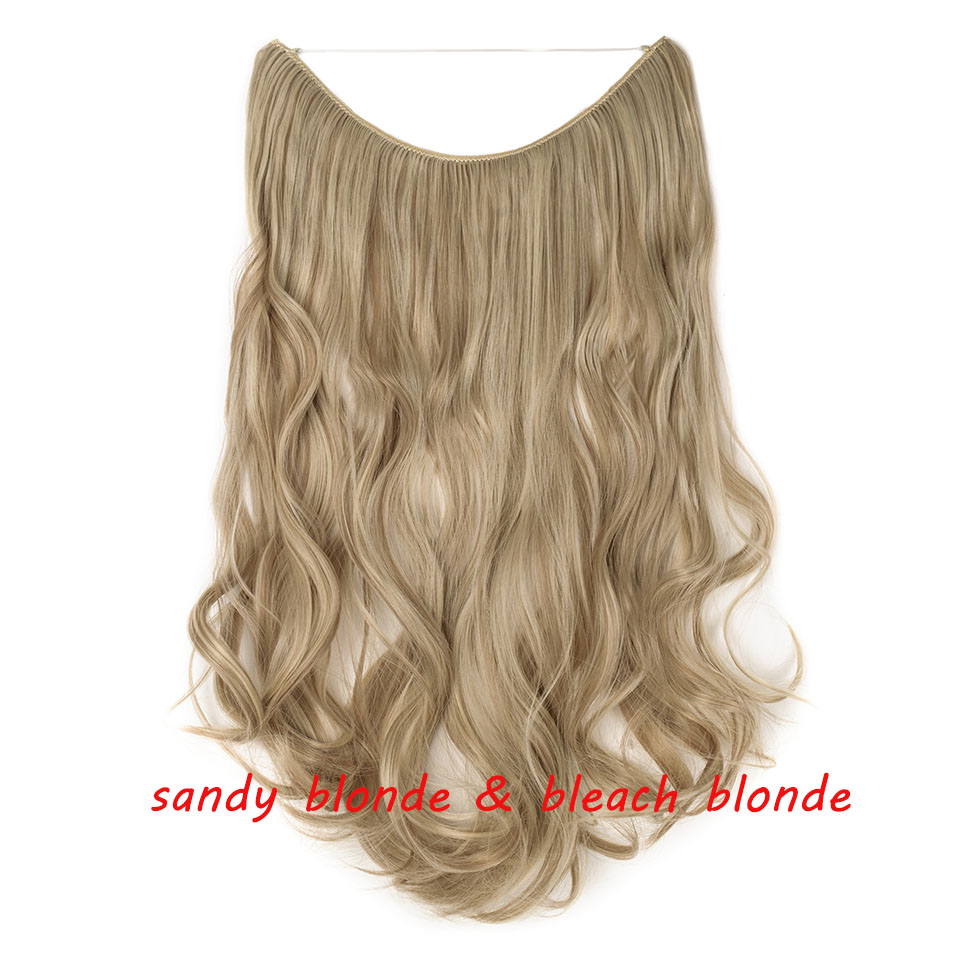 S-noilite 20 дюймов невидимый провод без заколки для волос Расширения секретная Рыбная линия шиньоны шелковистые прямые настоящие натуральные синтетические - Цвет: 16P613
